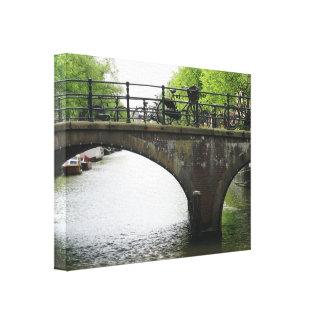 Bicycles on Bridge in Amsterdam Canvas Print