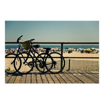 Beach Themed Bicycles On The Boardwalk Poster