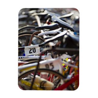 Bicycles on the rack at a triathlon race ready rectangular photo magnet