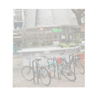 bicycles outside a florist in Strasbourg France Notepad