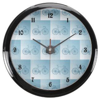 Bicycles pattern aqua clock