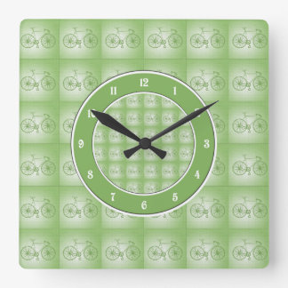 Bicycles pattern square wall clock