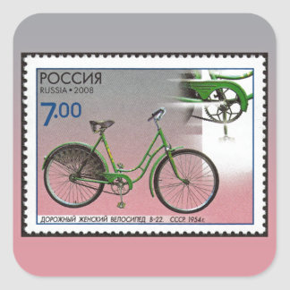 Bicycles ~ Stamp of Russia 2008 Square Sticker