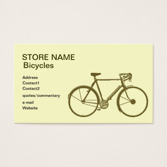 Bicycles store business card