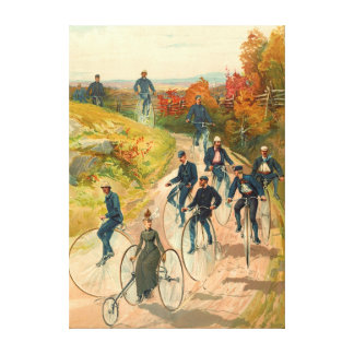 Bicycling 1887 stretched canvas prints