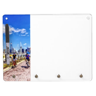 Bicycling Along Liberty Landing Marina Dry Erase Board With Keychain Holder