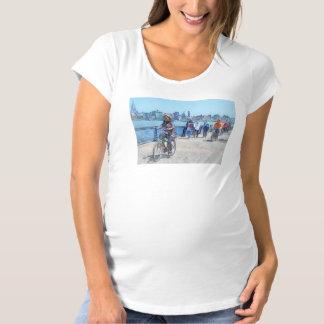 Bicycling Along Pier A Hoboken NJ Maternity T-Shirt