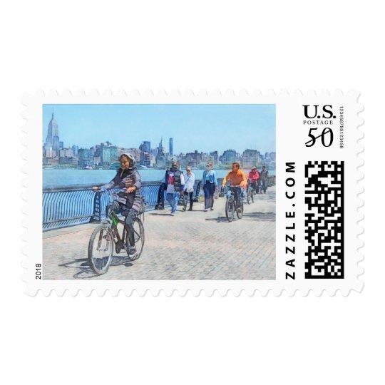 Bicycling Along Pier A Hoboken NJ Postage