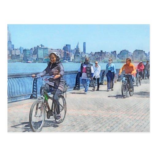 Bicycling Along Pier A Hoboken NJ Postcards