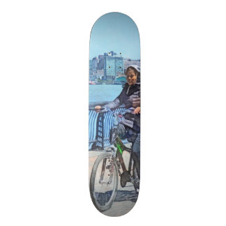 Bicycling Along Pier A Hoboken NJ Custom Skateboard