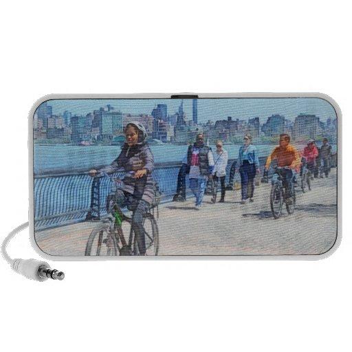 Bicycling Along Pier A Hoboken NJ Mp3 Speakers