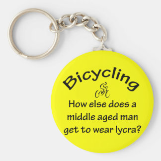Bicycling Basic Round Button Keychain