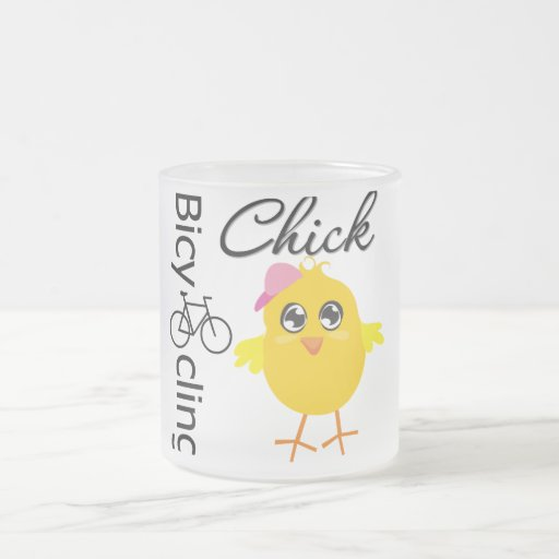 Bicycling Chick 10 Oz Frosted Glass Coffee Mug