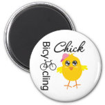 Bicycling Chick 2 Inch Round Magnet