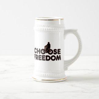 Bicycling Choose Freedom Beer Stein