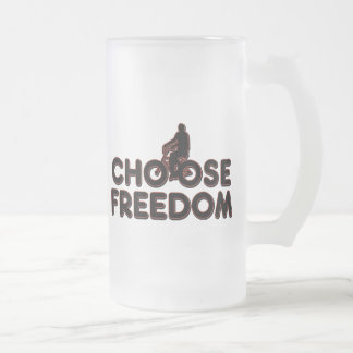 Bicycling Choose Freedom Frosted Glass Beer Mug