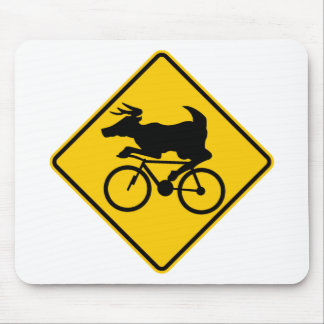 Bicycling Deer Crossing Highway Sign Mousepads