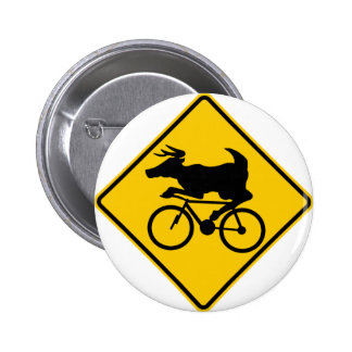 Bicycling Deer Crossing Highway Sign Pinback Button