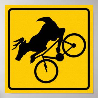 Bicycling Deer Crossing Highway Sign Print