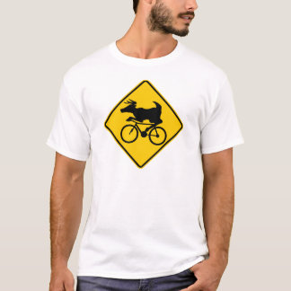 Bicycling Deer Crossing Highway Sign T-Shirt