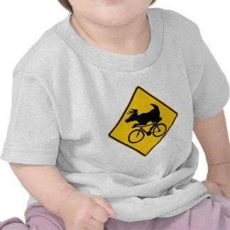 Bicycling Deer Crossing Highway Sign Tshirts