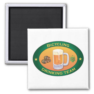 Bicycling Drinking Team 2 Inch Square Magnet