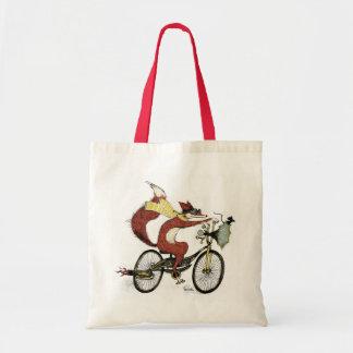Bicycling Fox Tote by Sarah Watts Budget Tote Bag