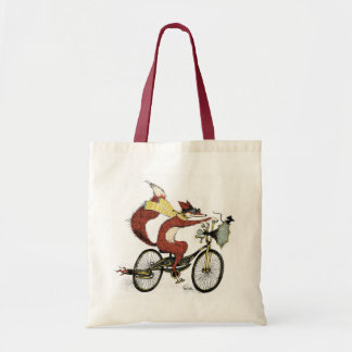 Bicycling Fox Tote by Sarah Watts Canvas Bags