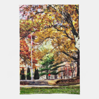 Bicycling in an Autumn Park Kitchen Towel