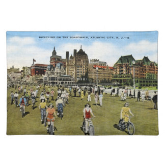 Bicycling on the Boardwalk, Atlantic City Vintage Cloth Placemat