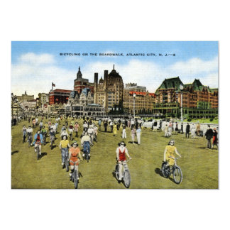 "Bicycling on the Boardwalk, Atlantic City Vintage 5"" X 7"" Invitation Card"