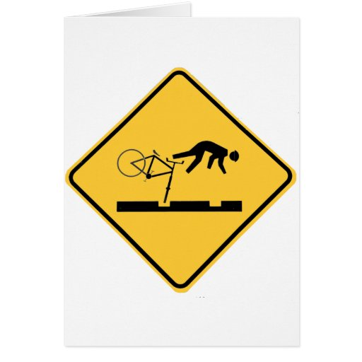 Bicycling on the Tracks - Road Sign Card