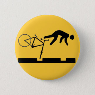 Bicycling on the Tracks - Road Sign Pinback Button
