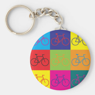 Bicycling Pop Art Basic Round Button Keychain