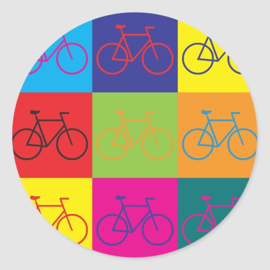 Bicycling Pop Art Classic Round Sticker