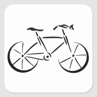 Bicycling Square Sticker