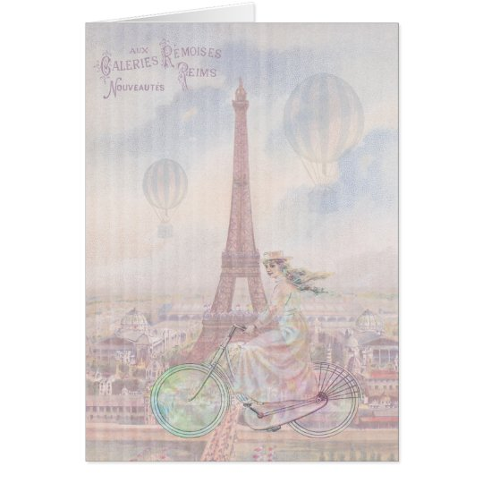 Bicycling through Paris Card