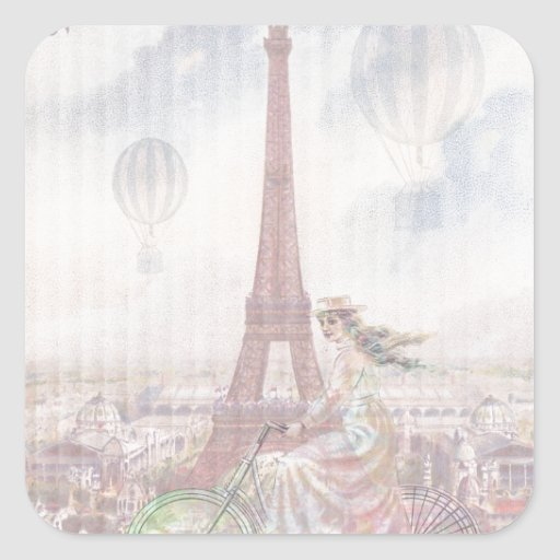 Bicycling through Paris Square Sticker