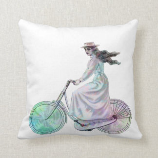 Bicycling Through Paris Throw Pillow