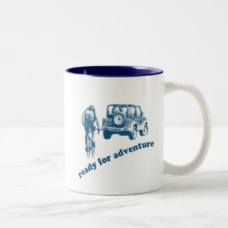 Bicyclist and Motorist are ready for adventure Two-Tone Coffee Mug