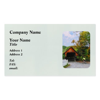 Bicyclist at Middle Bridge Woodstock VT Business Card