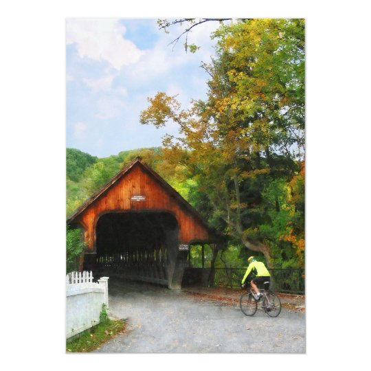 Bicyclist at Middle Bridge Woodstock VT Card