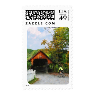 Bicyclist at Middle Bridge Woodstock VT Stamp
