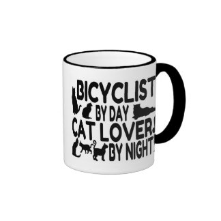 Bicyclist Cat Lover Ringer Coffee Mug