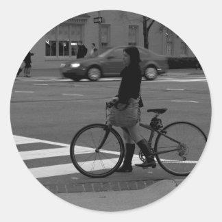 Bicyclist Classic Round Sticker
