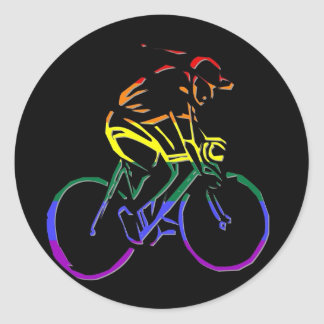Bicyclist del orgullo de GLBT Pegatina Redonda