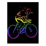 Bicyclist del orgullo de GLBT Tarjetas Postales