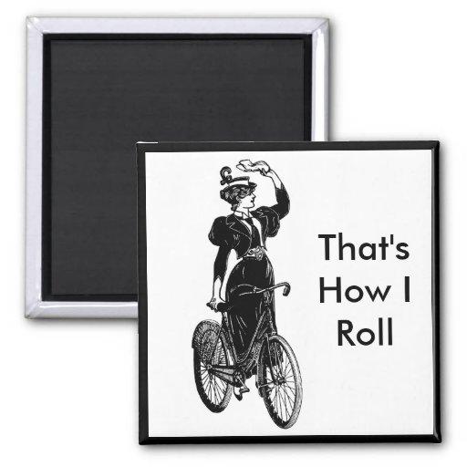 Bicyclist del vintage imán cuadrado