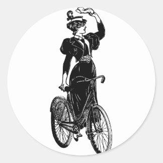 Bicyclist del vintage pegatinas redondas