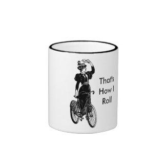 Bicyclist del vintage taza de dos colores